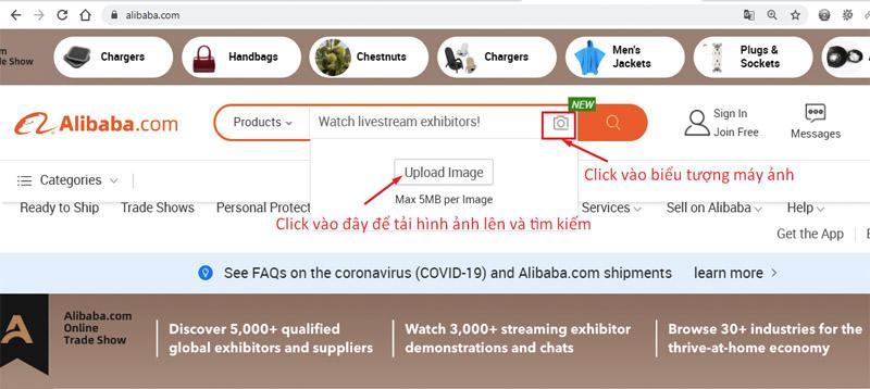 Cách tìm kiếm hàng hoá bằng hình ảnh trên Alibaba